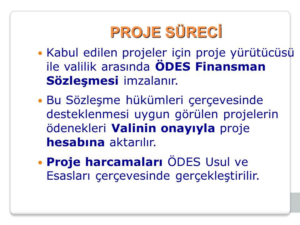 PROJE SÜRECİ Kabul edilen projeler için proje yürütücüsü ile valilik arasında ÖDES Finansman Sözleşmesi imzalanır.