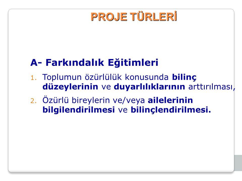 PROJE TÜRLERİ A- Farkındalık Eğitimleri 1.