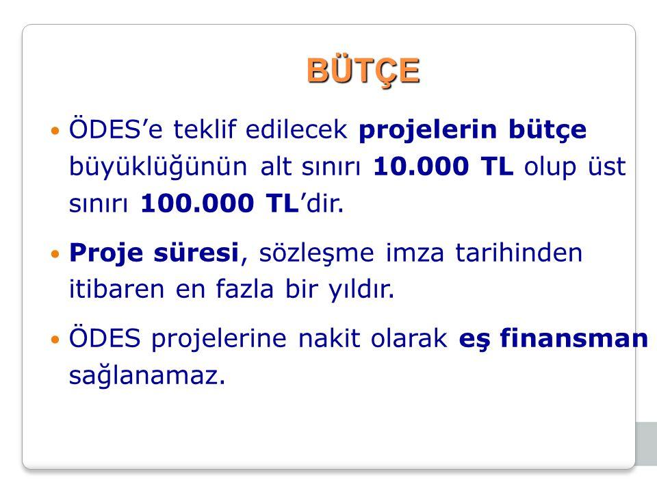 BÜTÇE ÖDES'e teklif edilecek projelerin bütçe büyüklüğünün alt sınırı 10.000 TL olup üst sınırı 100.000 TL'dir. Proje süresi, sözleşme imza tarihinden