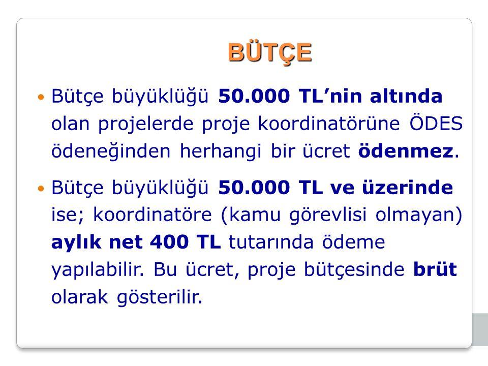 BÜTÇE Bütçe büyüklüğü 50.000 TL'nin altında olan projelerde proje koordinatörüne ÖDES ödeneğinden herhangi bir ücret ödenmez. Bütçe büyüklüğü 50.000 T