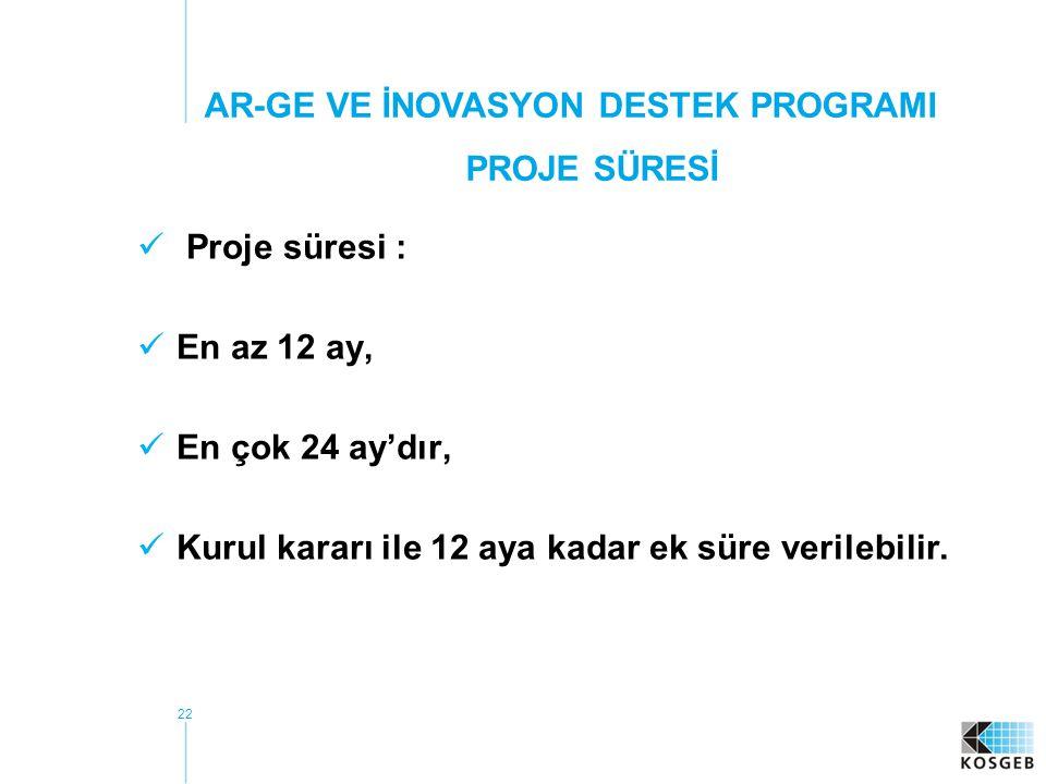 22 Proje süresi : En az 12 ay, En çok 24 ay'dır, Kurul kararı ile 12 aya kadar ek süre verilebilir.