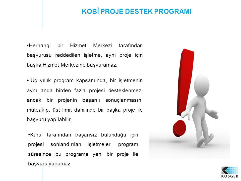 59 KOBİ PROJE DESTEK PROGRAMI Kurul tarafından başarısız bulunduğu için projesi sonlandırılan işletmeler, program süresince bu programa yeni bir proje ile başvuru yapamaz.