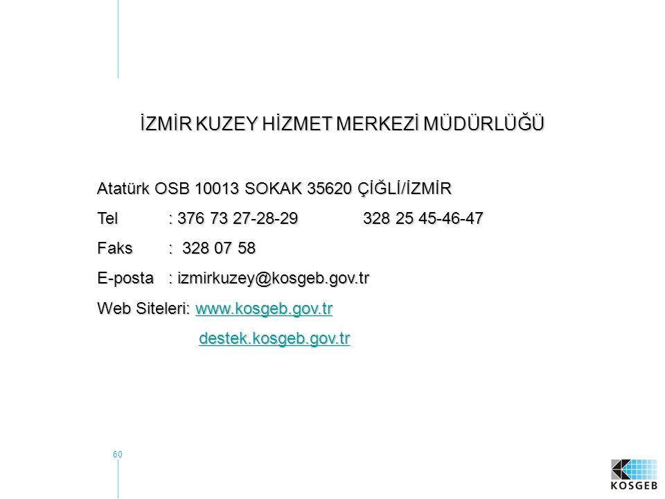 60 İZMİR KUZEY HİZMET MERKEZİ MÜDÜRLÜĞÜ Atatürk OSB 10013 SOKAK 35620 ÇİĞLİ/İZMİR Tel : 376 73 27-28-29328 25 45-46-47 Faks : 328 07 58 E-posta : izmirkuzey@kosgeb.gov.tr Web Siteleri: www.kosgeb.gov.tr www.kosgeb.gov.tr destek.kosgeb.gov.tr destek.kosgeb.gov.trdestek.kosgeb.gov.tr