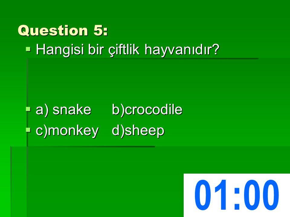 Question 5:  Hangisi bir çiftlik hayvanıdır  a) snakeb)crocodile  c)monkeyd)sheep