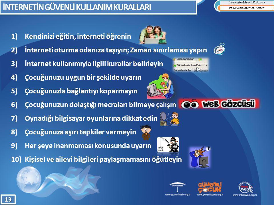 1)Kendinizi eğitin, interneti öğrenin 2)İnterneti oturma odanıza taşıyın; Zaman sınırlaması yapın 3)İnternet kullanımıyla ilgili kurallar belirleyin 4