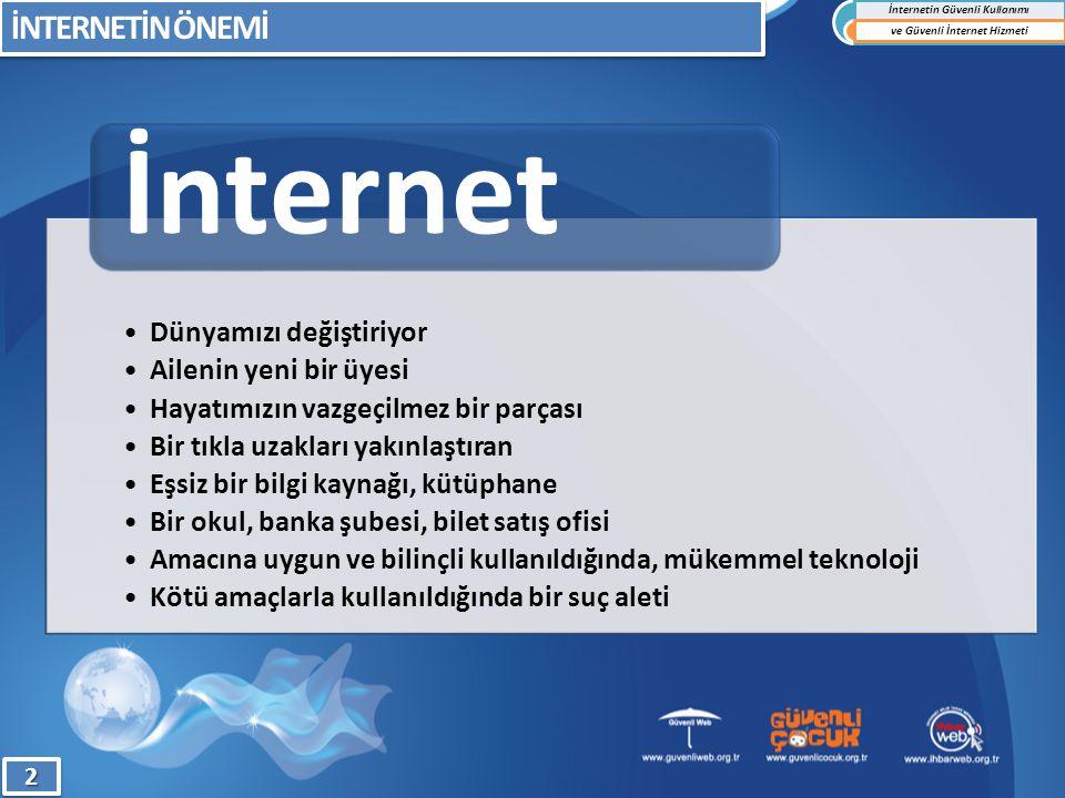 1)Kendinizi eğitin, interneti öğrenin 2)İnterneti oturma odanıza taşıyın; Zaman sınırlaması yapın 3)İnternet kullanımıyla ilgili kurallar belirleyin 4)Çocuğunuzu uygun bir şekilde uyarın 5)Çocuğunuzla bağlantıyı koparmayın 6)Çocuğunuzun dolaştığı mecraları bilmeye çalışın 7)Oynadığı bilgisayar oyunlarına dikkat edin 8)Çocuğunuza aşırı tepkiler vermeyin 9)Her şeye inanmaması konusunda uyarın 10)Kişisel ve ailevi bilgileri paylaşmamasını öğütleyin İNTERNETİN GÜVENLİ KULLANIM KURALLARI İnternetin Güvenli Kullanımı ve Güvenli İnternet Hizmeti1313