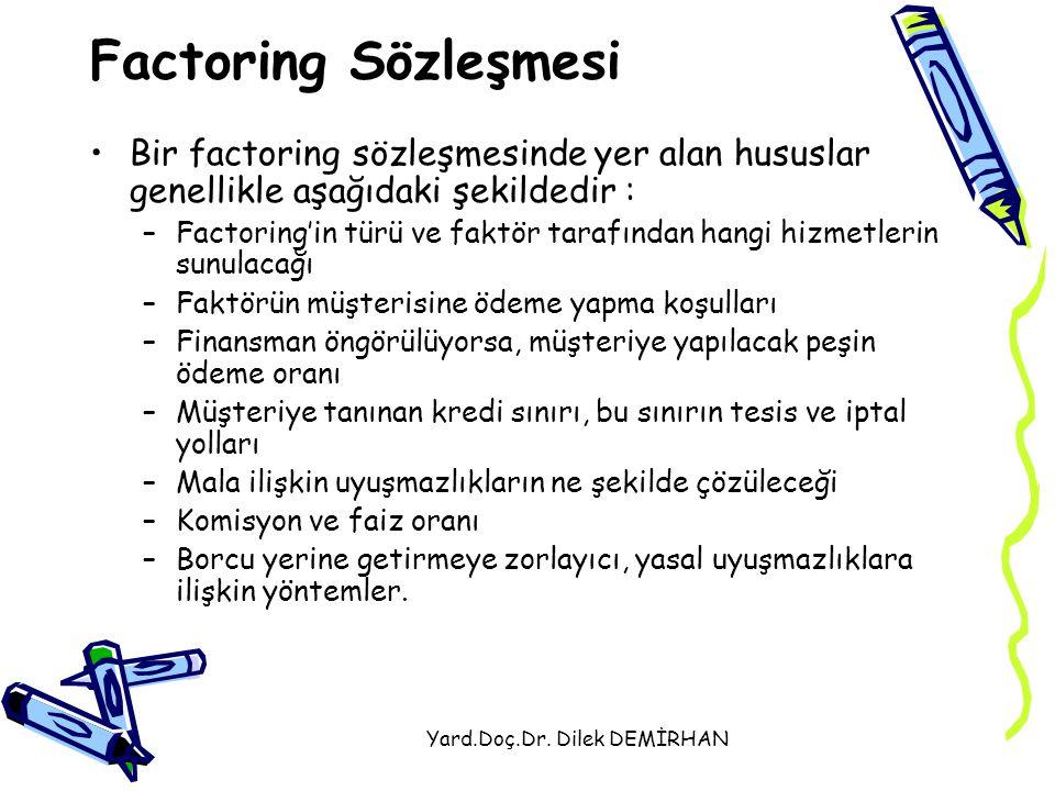 Yard.Doç.Dr. Dilek DEMİRHAN Factoring Sözleşmesi Bir factoring sözleşmesinde yer alan hususlar genellikle aşağıdaki şekildedir : –Factoring'in türü ve