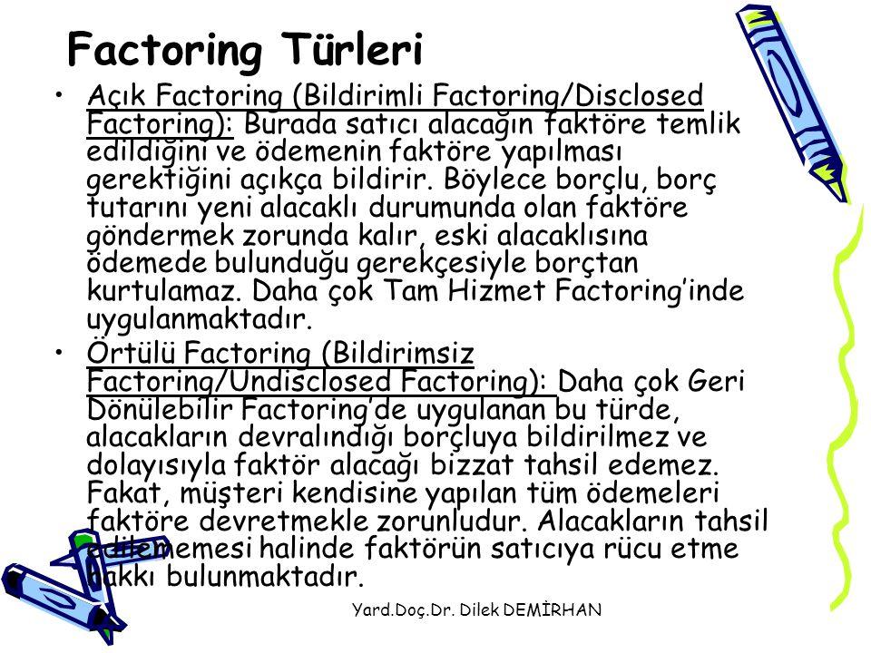 Yard.Doç.Dr. Dilek DEMİRHAN Factoring Türleri Açık Factoring (Bildirimli Factoring/Disclosed Factoring): Burada satıcı alacağın faktöre temlik edildiğ