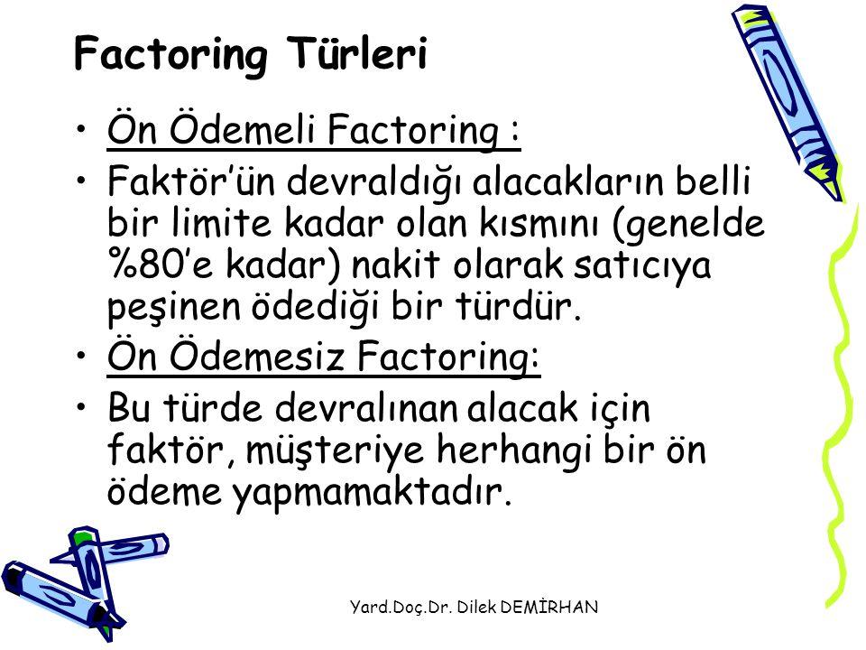 Yard.Doç.Dr. Dilek DEMİRHAN Factoring Türleri Ön Ödemeli Factoring : Faktör'ün devraldığı alacakların belli bir limite kadar olan kısmını (genelde %80