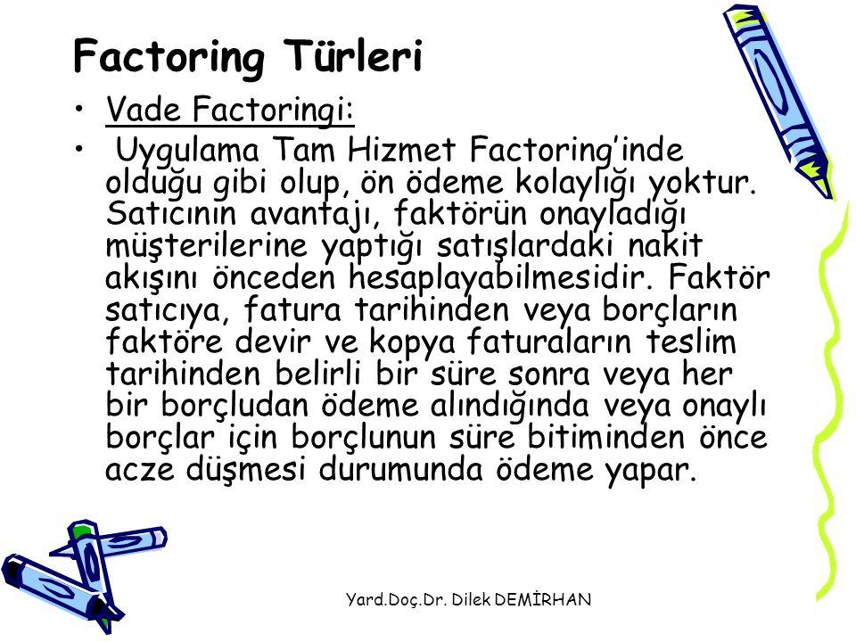 Yard.Doç.Dr. Dilek DEMİRHAN Factoring Türleri Vade Factoringi: Uygulama Tam Hizmet Factoring'inde olduğu gibi olup, ön ödeme kolaylığı yoktur. Satıcın