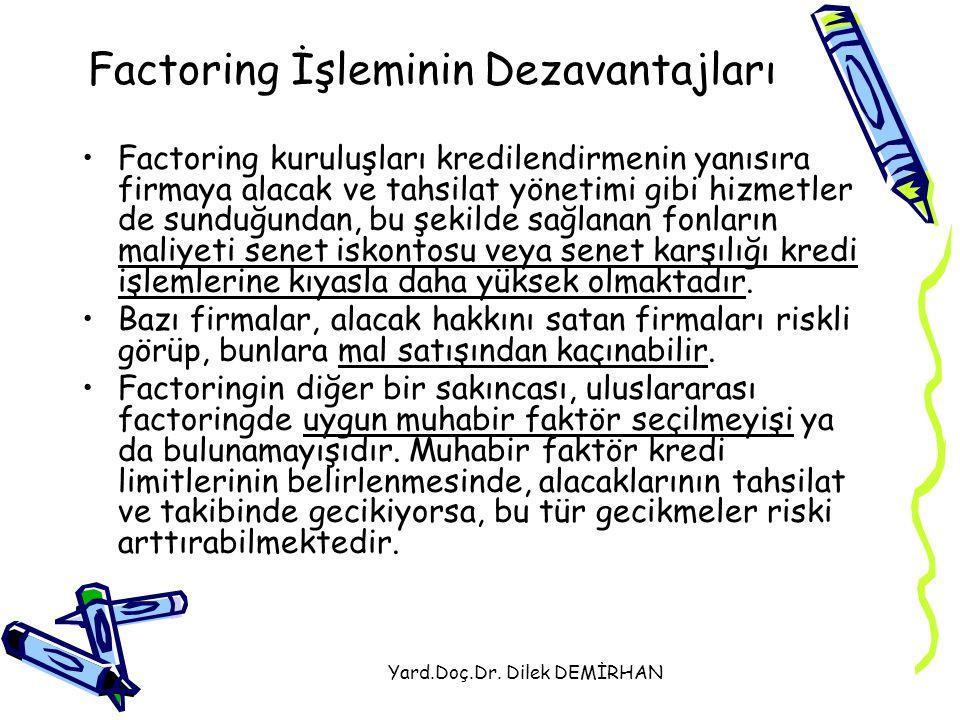 Yard.Doç.Dr. Dilek DEMİRHAN Factoring İşleminin Dezavantajları Factoring kuruluşları kredilendirmenin yanısıra firmaya alacak ve tahsilat yönetimi gib