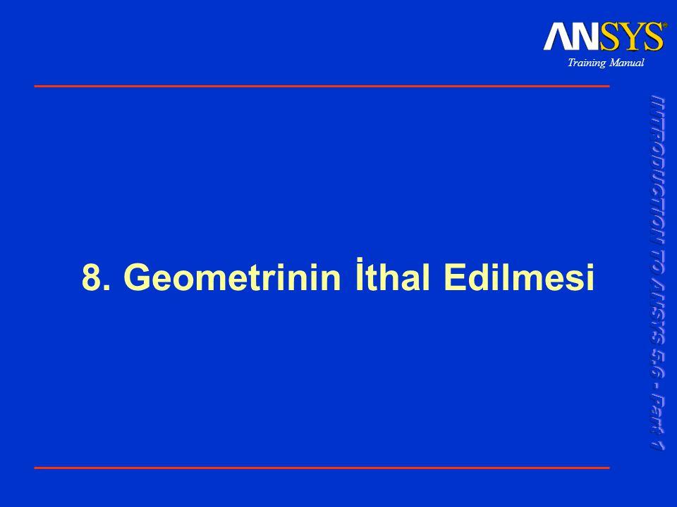 Training Manual 001289 30 Nov 1999 8-12 Geometrinin İthal Edilmesi...