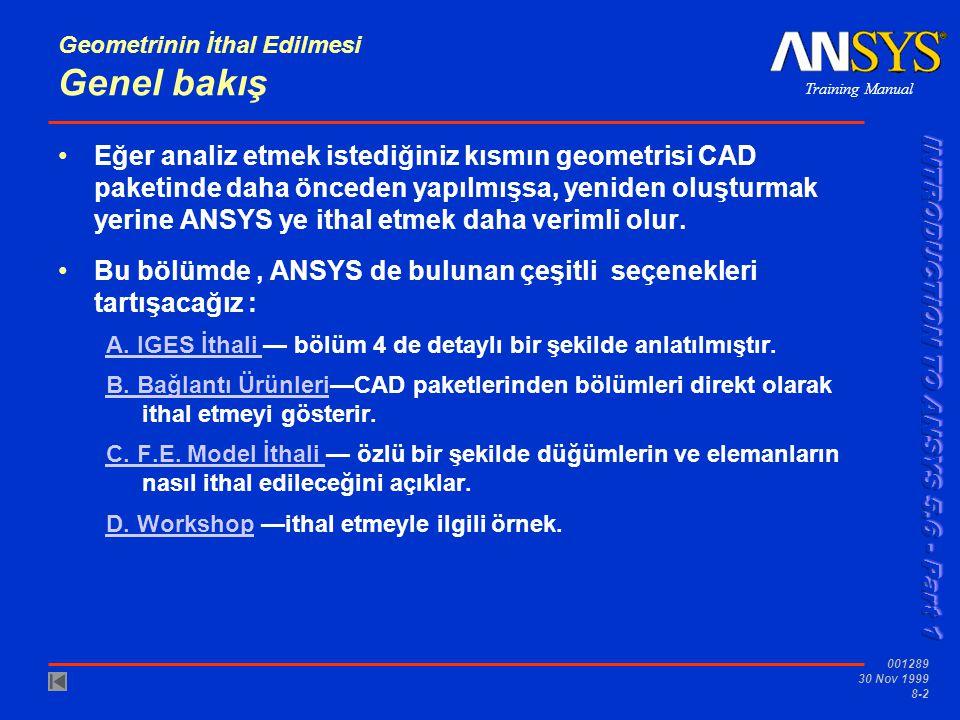 Training Manual 001289 30 Nov 1999 8-13 Geometrinin İthal Edilmesi...