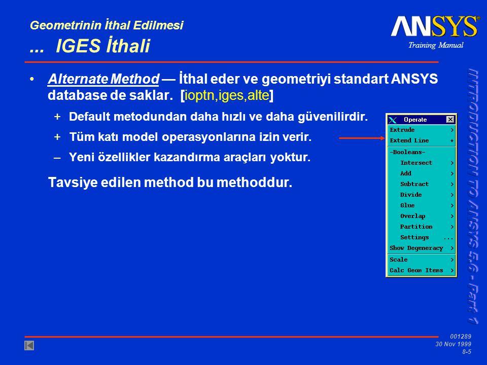 Training Manual 001289 30 Nov 1999 8-6 Geometrinin İthal Edilmesi...