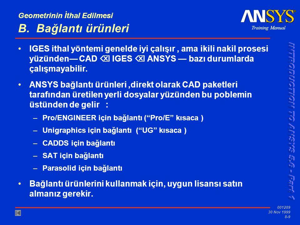 Training Manual 001289 30 Nov 1999 8-10 Geometrinin İthal Edilmesi...