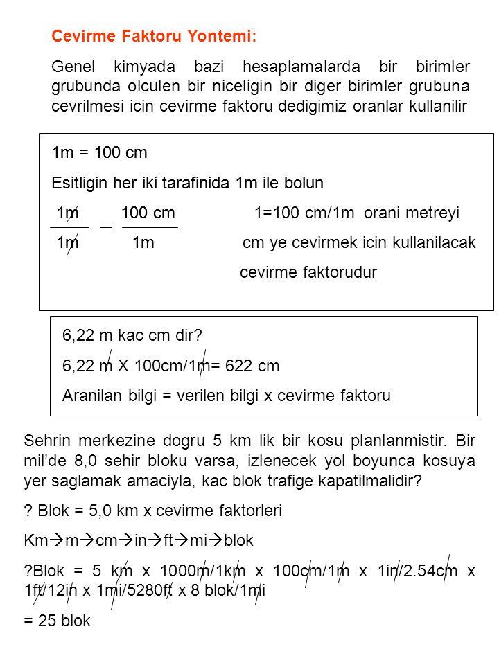 Bilinmesi gerek: 1 in = 2.54 cm 1 ft = 30.48 cm = 12 in 1mi = 1609 m = 5280 ft Cevirme faktorlerinin birimlerin karesinin alinmasinda kullanilmasi: 1 m 2 nin 1 ft 2 cinsinden degeri nedir.