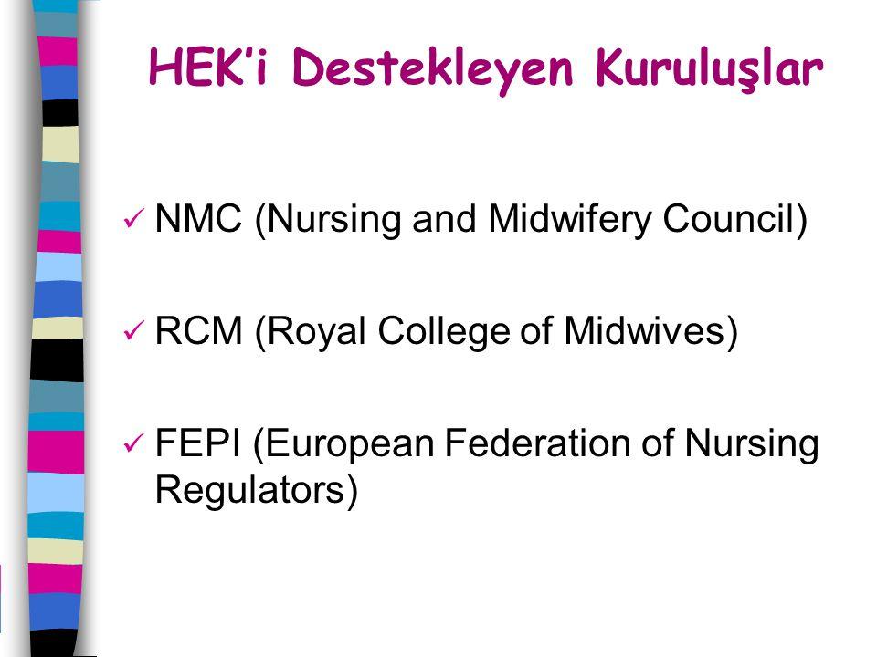 HEK'i Destekleyen Kuruluşlar NMC (Nursing and Midwifery Council) RCM (Royal College of Midwives) FEPI (European Federation of Nursing Regulators)