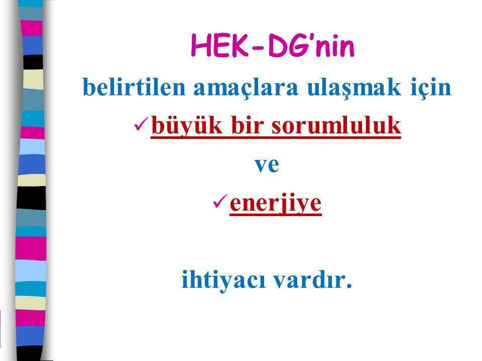 HEK-DG'nin belirtilen amaçlara ulaşmak için büyük bir sorumluluk ve enerjiye ihtiyacı vardır.