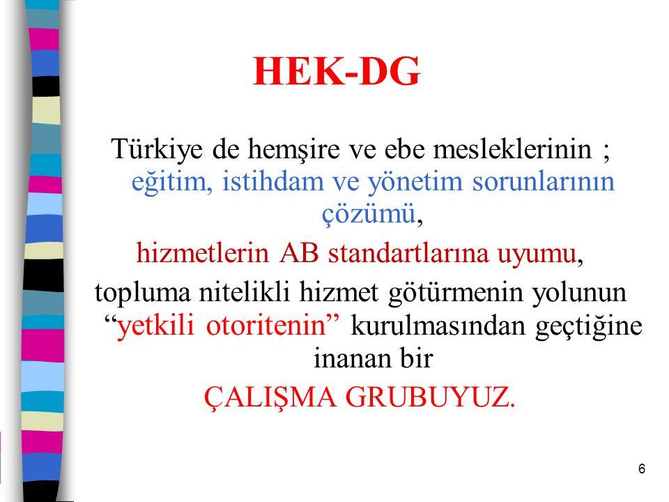 6 HEK-DG Türkiye de hemşire ve ebe mesleklerinin ; eğitim, istihdam ve yönetim sorunlarının çözümü, hizmetlerin AB standartlarına uyumu, topluma nitel