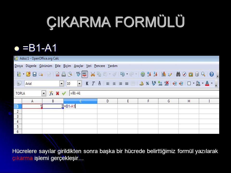 ÇIKARMA FORMÜLÜ =B1-A1 =B1-A1 Hücrelere sayılar girildikten sonra başka bir hücrede belirttiğimiz formül yazılarak çıkarma işlemi gerçekleşir…