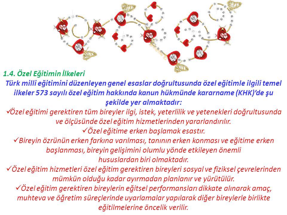 1.4. Özel Eğitimin İlkeleri Türk milli eğitimini düzenleyen genel esaslar doğrultusunda özel eğitimle ilgili temel ilkeler 573 sayılı özel eğitim hakk