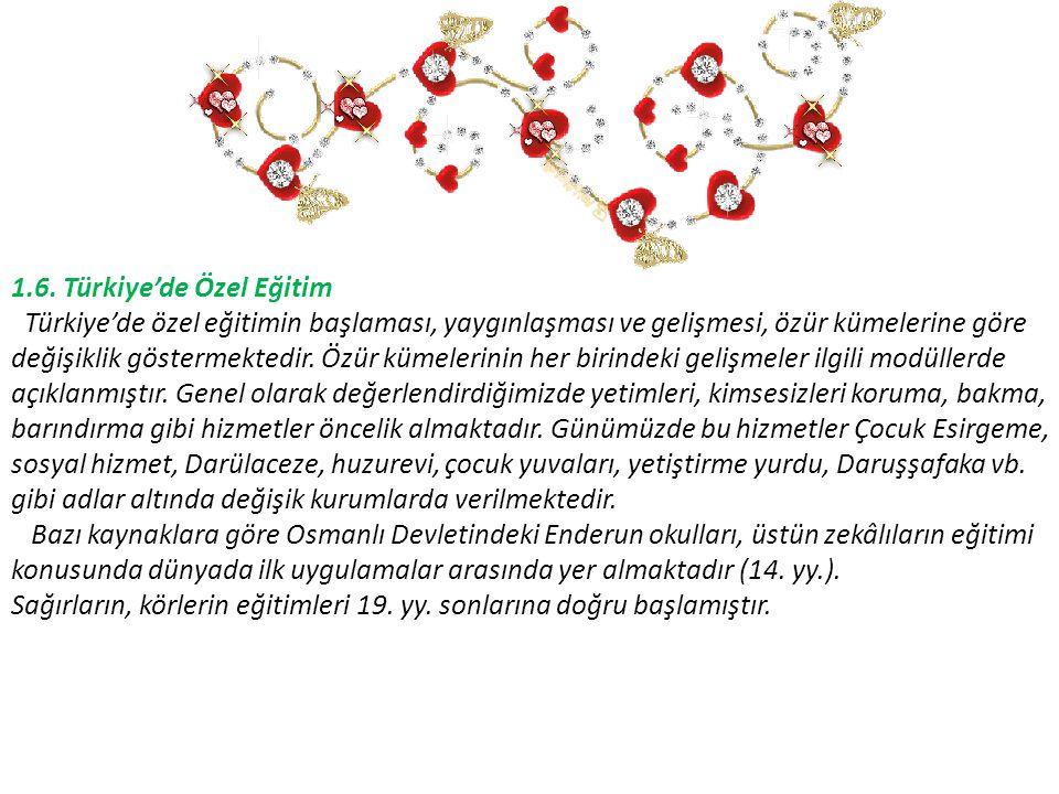 1.6. Türkiye'de Özel Eğitim Türkiye'de özel eğitimin başlaması, yaygınlaşması ve gelişmesi, özür kümelerine göre değişiklik göstermektedir. Özür kümel
