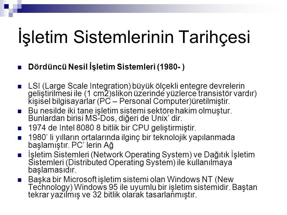 İşletim Sistemlerinin Tarihçesi Dördüncü Nesil İşletim Sistemleri (1980- ) LSI (Large Scale Integration) büyük ölçekli entegre devrelerin geliştirilme