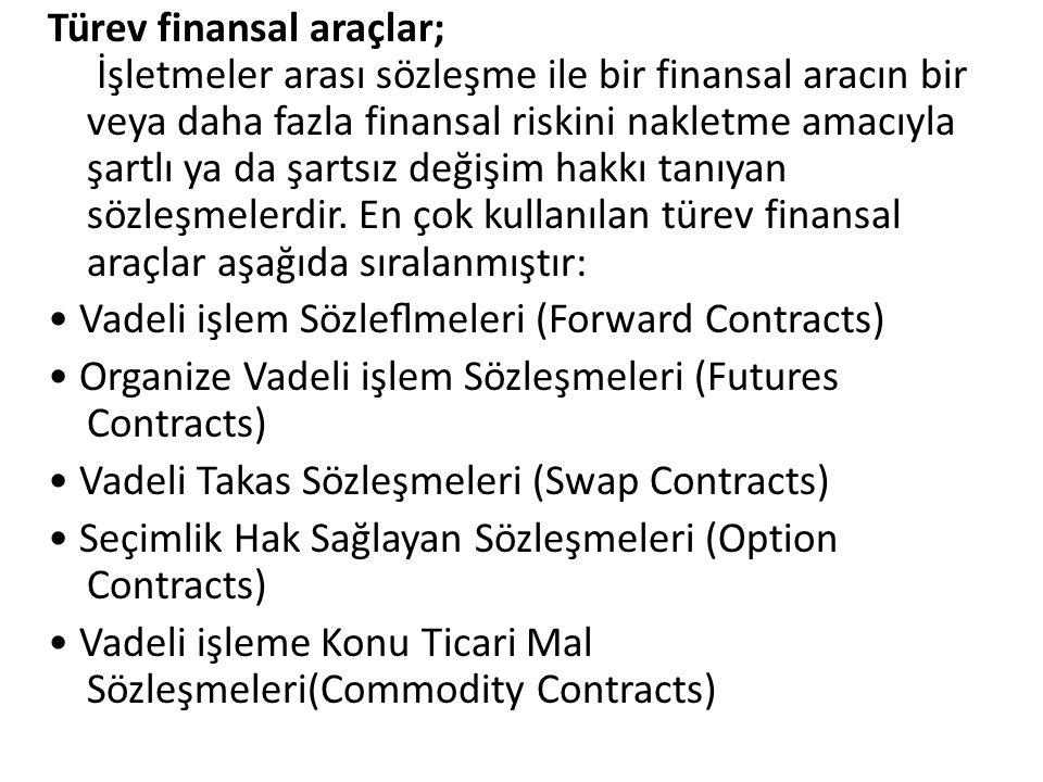 Türev finansal araçlar; İşletmeler arası sözleşme ile bir finansal aracın bir veya daha fazla finansal riskini nakletme amacıyla şartlı ya da şartsız
