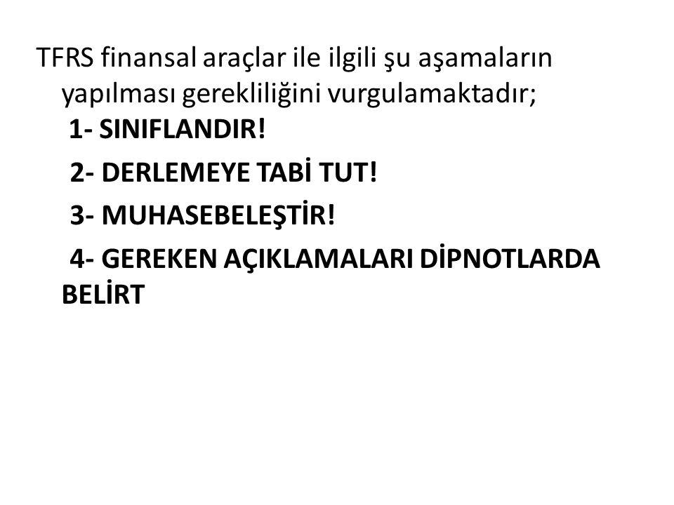 TFRS finansal araçlar ile ilgili şu aşamaların yapılması gerekliliğini vurgulamaktadır; 1- SINIFLANDIR! 2- DERLEMEYE TABİ TUT! 3- MUHASEBELEŞTİR! 4- G