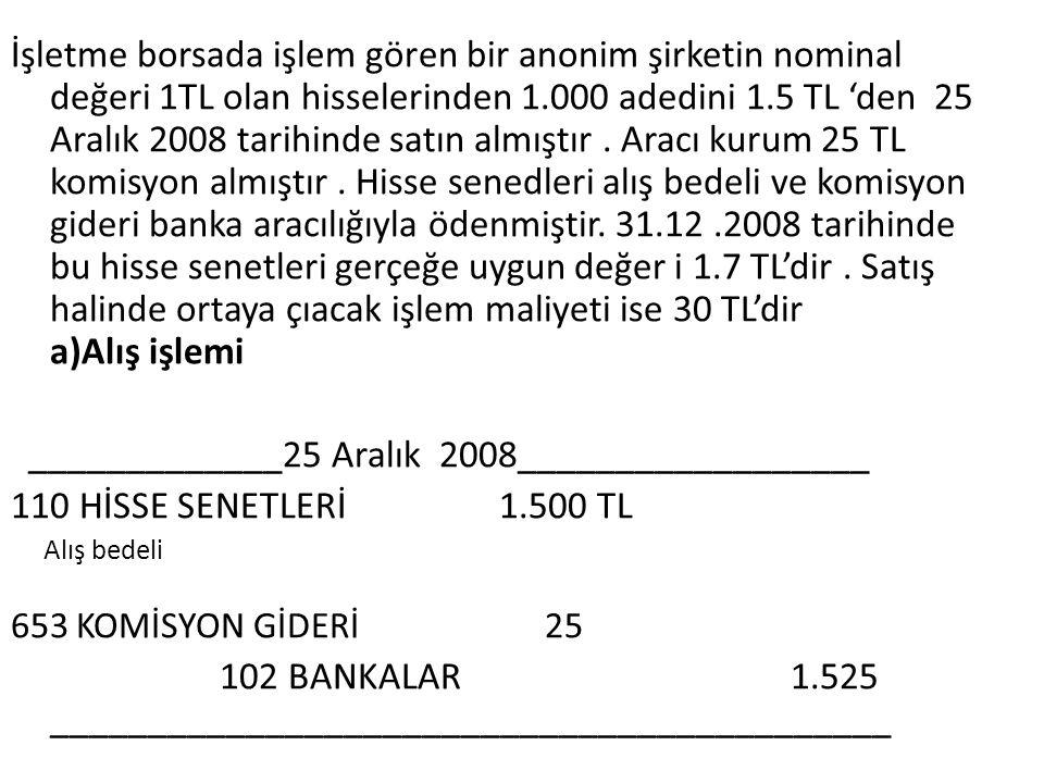 İşletme borsada işlem gören bir anonim şirketin nominal değeri 1TL olan hisselerinden 1.000 adedini 1.5 TL 'den 25 Aralık 2008 tarihinde satın almıştı