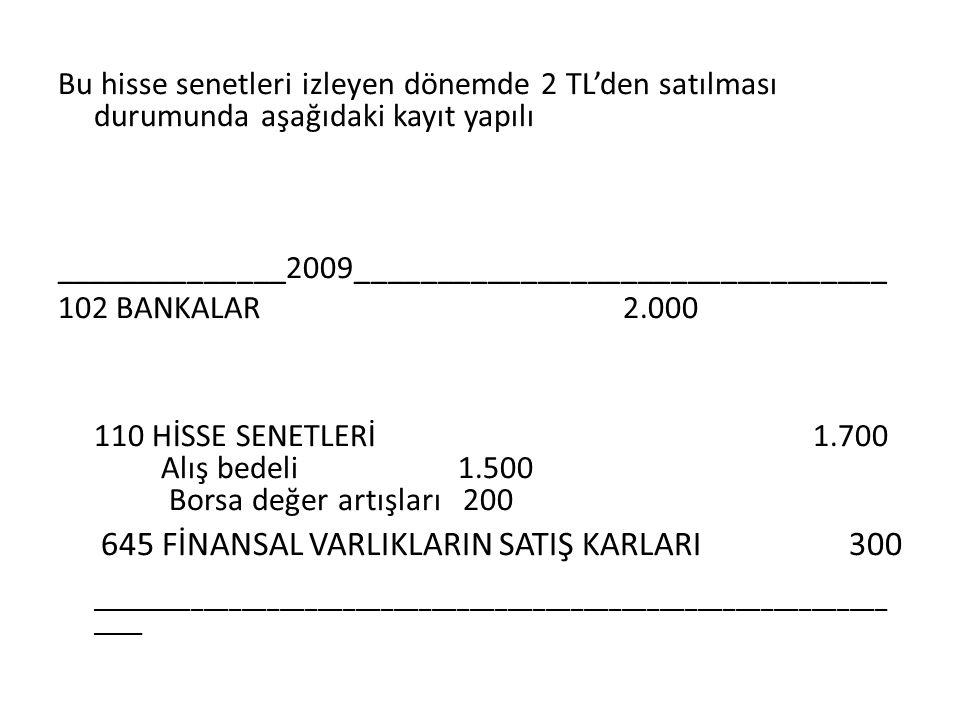 Bu hisse senetleri izleyen dönemde 2 TL'den satılması durumunda aşağıdaki kayıt yapılı ______________2009________________________________ 102 BANKALAR