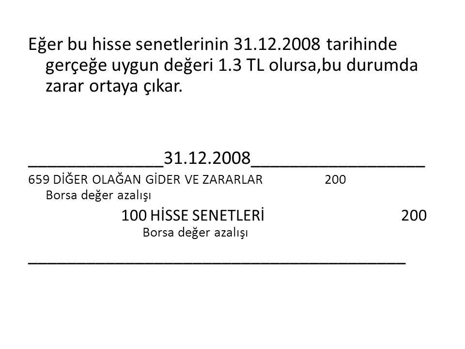 Eğer bu hisse senetlerinin 31.12.2008 tarihinde gerçeğe uygun değeri 1.3 TL olursa,bu durumda zarar ortaya çıkar. ______________31.12.2008____________