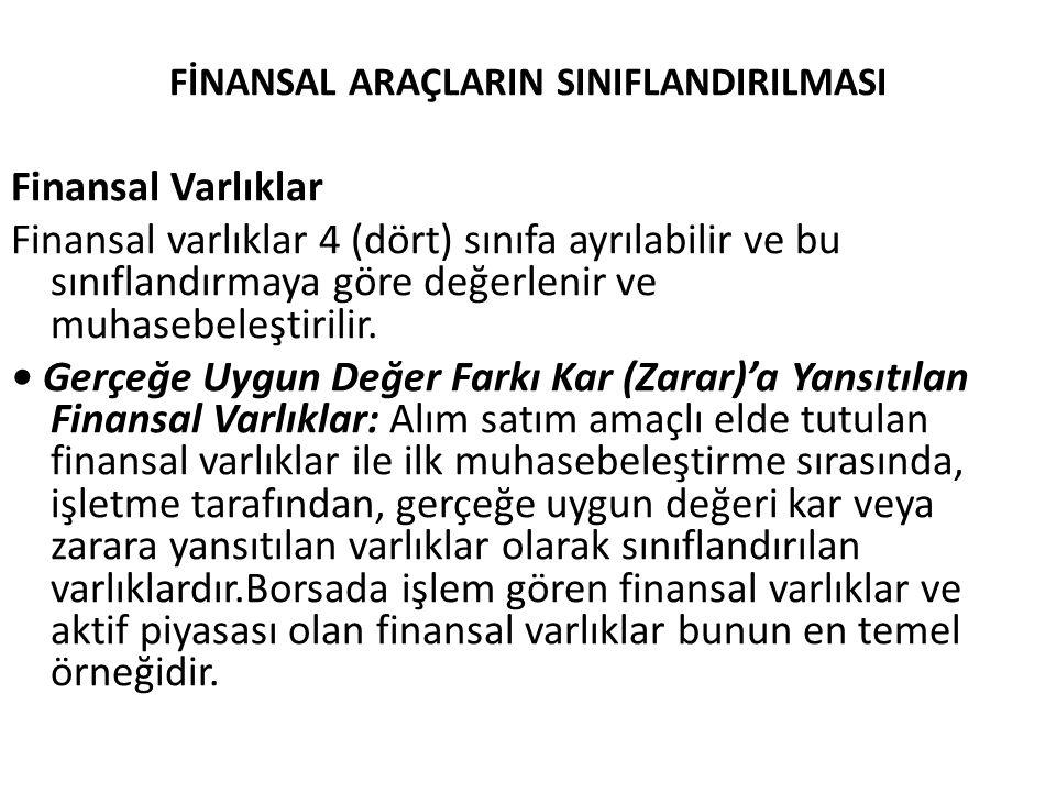 FİNANSAL ARAÇLARIN SINIFLANDIRILMASI Finansal Varlıklar Finansal varlıklar 4 (dört) sınıfa ayrılabilir ve bu sınıflandırmaya göre değerlenir ve muhase
