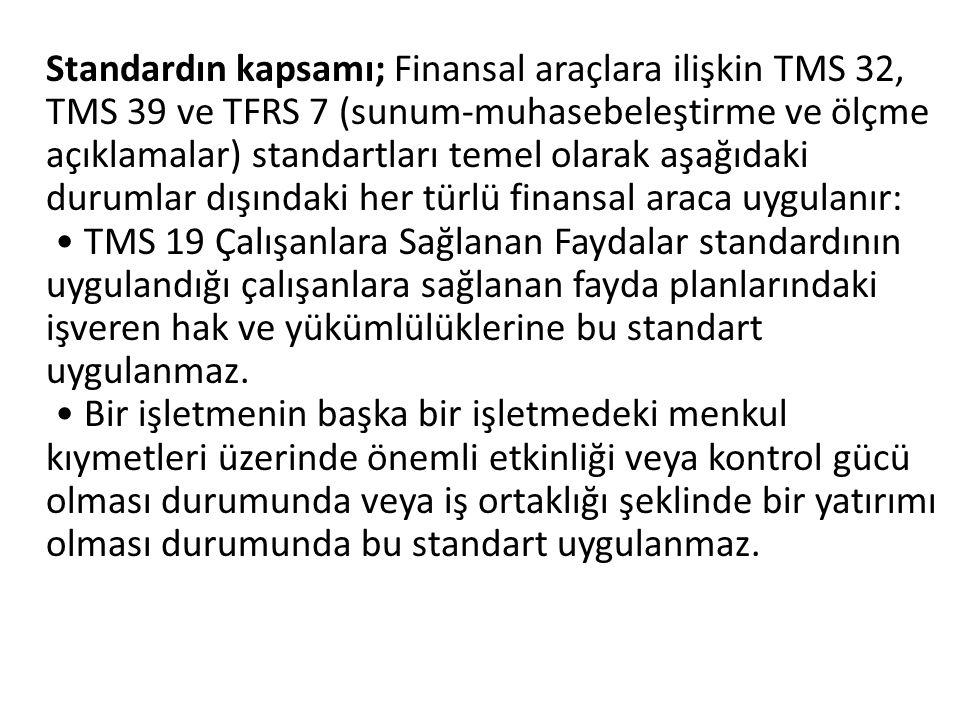 Standardın kapsamı; Finansal araçlara ilişkin TMS 32, TMS 39 ve TFRS 7 (sunum-muhasebeleştirme ve ölçme açıklamalar) standartları temel olarak aşağıda