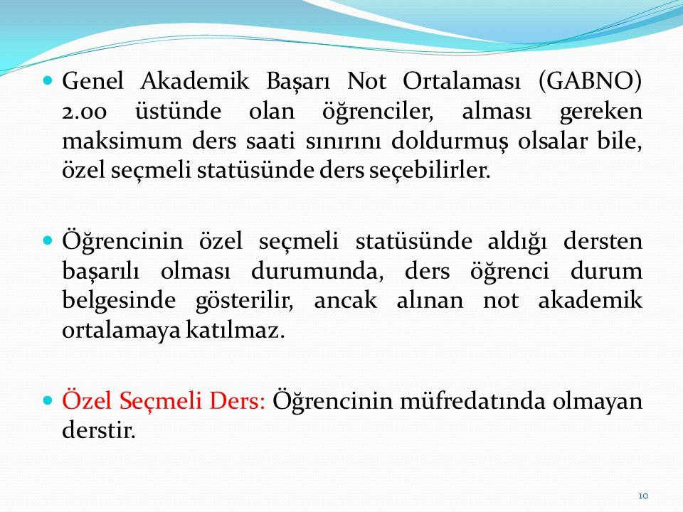 Genel Akademik Başarı Not Ortalaması (GABNO) 2.00 üstünde olan öğrenciler, alması gereken maksimum ders saati sınırını doldurmuş olsalar bile, özel seçmeli statüsünde ders seçebilirler.