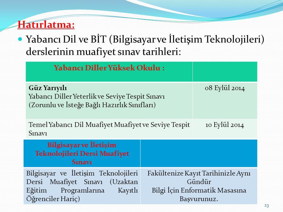 Hatırlatma: Yabancı Dil ve BİT (Bilgisayar ve İletişim Teknolojileri) derslerinin muafiyet sınav tarihleri: Yabancı Diller Yüksek Okulu : Güz Yarıyılı Yabancı Diller Yeterlik ve Seviye Tespit Sınavı (Zorunlu ve İsteğe Bağlı Hazırlık Sınıfları) 08 Eylül 2014 Temel Yabancı Dil Muafiyet Muafiyet ve Seviye Tespit Sınavı 10 Eylül 2014 Bilgisayar ve İletişim Teknolojileri Dersi Muafiyet Sınavı Bilgisayar ve İletişim Teknolojileri Dersi Muafiyet Sınavı (Uzaktan Eğitim Programlarına Kayıtlı Öğrenciler Hariç) Fakültenize Kayıt Tarihinizle Aynı Gündür Bilgi İçin Enformatik Masasına Başvurunuz.