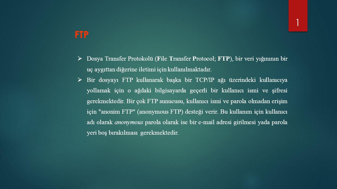 1  Dosya Transfer Protokolü (File Transfer Protocol; FTP), bir veri yığınının bir uç aygıttan diğerine iletimi için kullanılmaktadır.  Bir dosyayı F