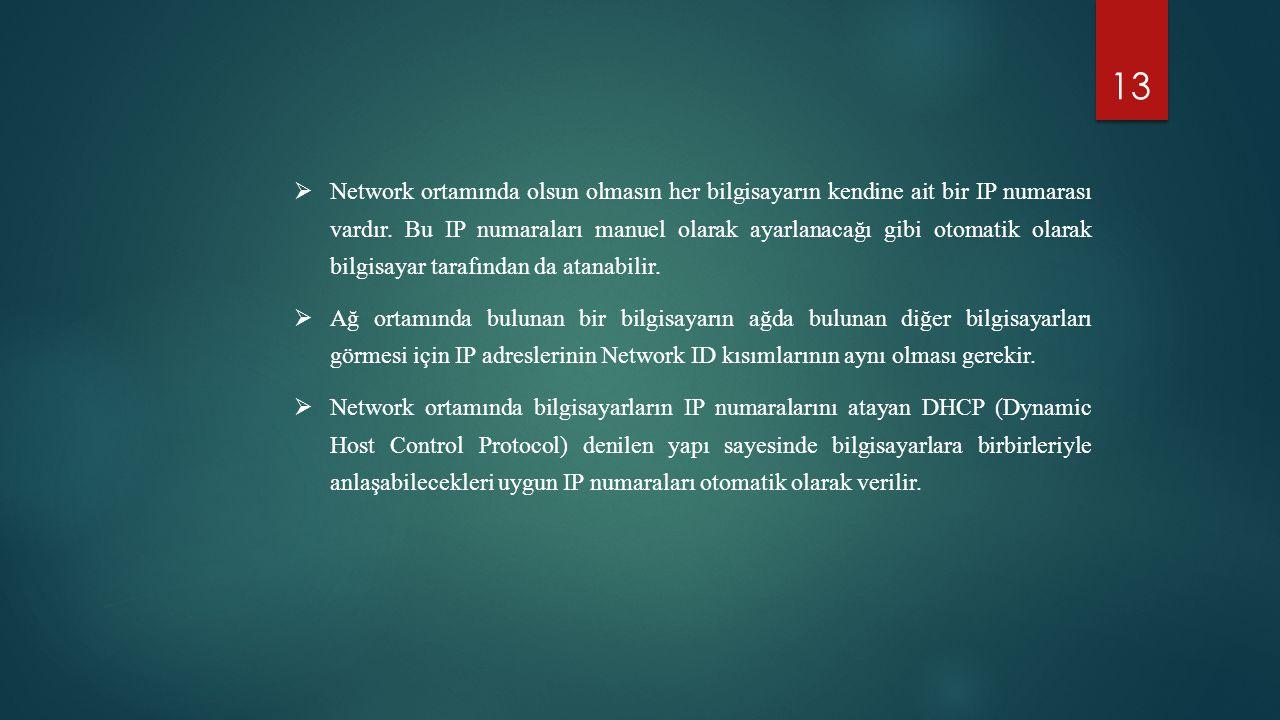 13  Network ortamında olsun olmasın her bilgisayarın kendine ait bir IP numarası vardır. Bu IP numaraları manuel olarak ayarlanacağı gibi otomatik ol