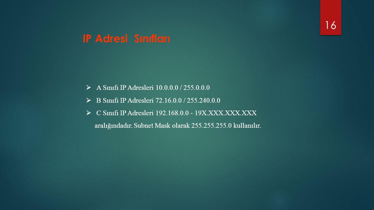 16  A Sınıfı IP Adresleri 10.0.0.0 / 255.0.0.0  B Sınıfı IP Adresleri 72.16.0.0 / 255.240.0.0  C Sınıfı IP Adresleri 192.168.0.0 - 19X.XXX.XXX.XXX