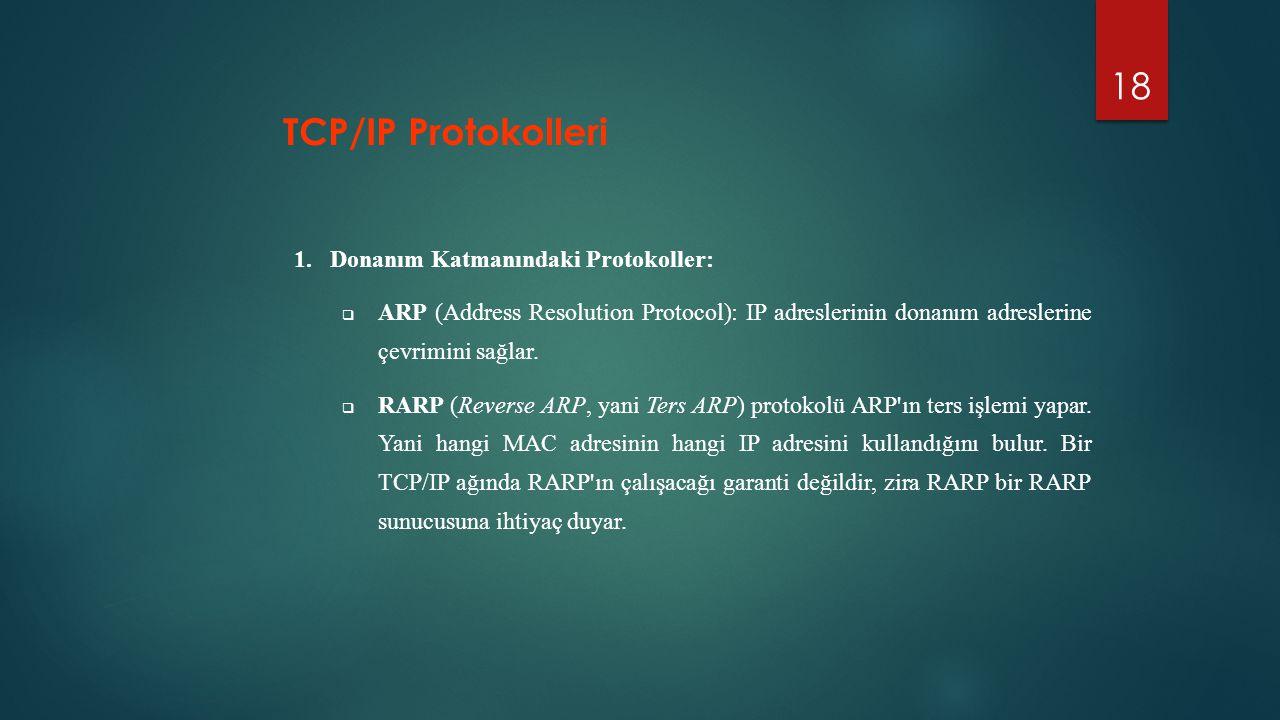 18 1.Donanım Katmanındaki Protokoller:  ARP (Address Resolution Protocol): IP adreslerinin donanım adreslerine çevrimini sağlar.  RARP (Reverse ARP,