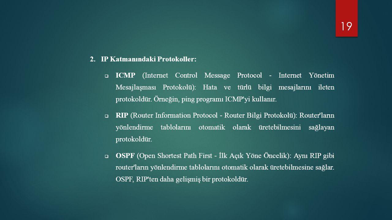 19 2.IP Katmanındaki Protokoller:  ICMP (Internet Control Message Protocol - Internet Yönetim Mesajlaşması Protokolü): Hata ve türlü bilgi mesajların