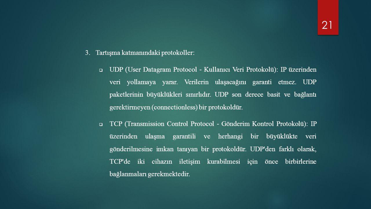 21 3.Tartışma katmanındaki protokoller:  UDP (User Datagram Protocol - Kullanıcı Veri Protokolü): IP üzerinden veri yollamaya yarar. Verilerin ulaşac