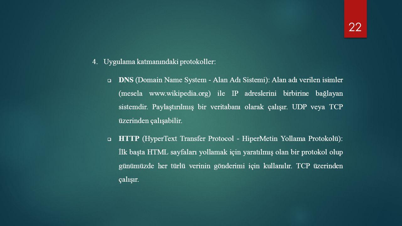 22 4.Uygulama katmanındaki protokoller:  DNS (Domain Name System - Alan Adı Sistemi): Alan adı verilen isimler (mesela www.wikipedia.org) ile IP adre