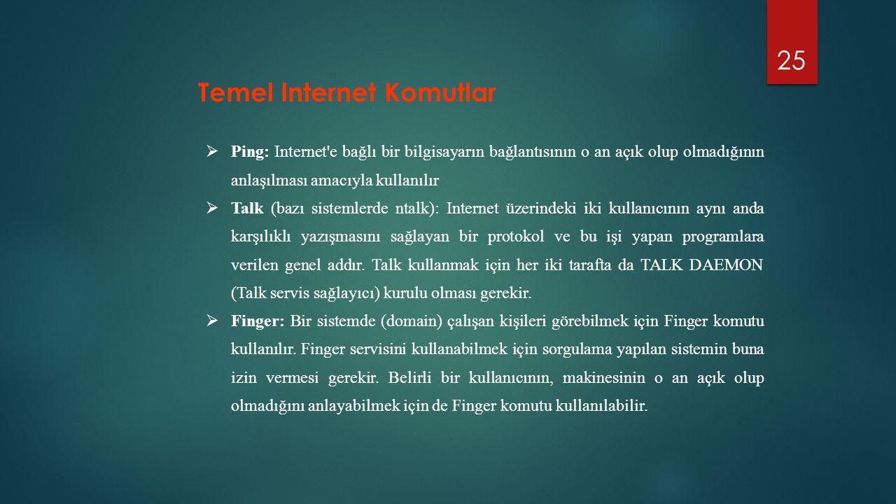 25 Temel Internet Komutlar  Ping: Internet'e bağlı bir bilgisayarın bağlantısının o an açık olup olmadığının anlaşılması amacıyla kullanılır  Talk (
