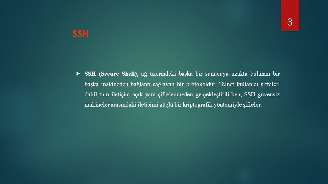 3  SSH (Secure Shell), ağ üzerindeki başka bir sunucuya uzakta bulunan bir başka makineden bağlantı sağlayan bir protokoldür. Telnet kullanıcı şifrel