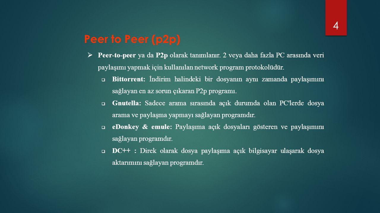 4  Peer-to-peer ya da P2p olarak tanımlanır. 2 veya daha fazla PC arasında veri paylaşımı yapmak için kullanılan network program protokolüdür.  Bitt