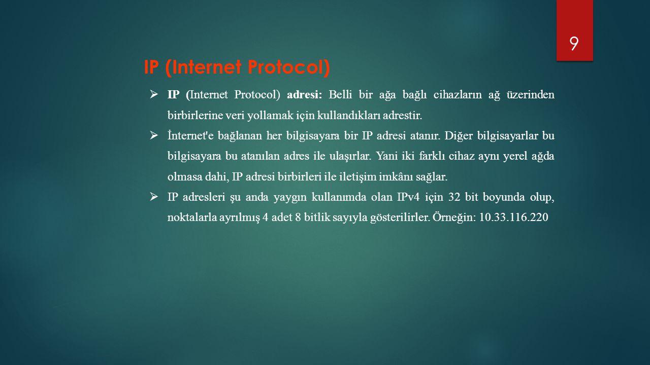 9  IP (Internet Protocol) adresi: Belli bir ağa bağlı cihazların ağ üzerinden birbirlerine veri yollamak için kullandıkları adrestir.  İnternet'e ba
