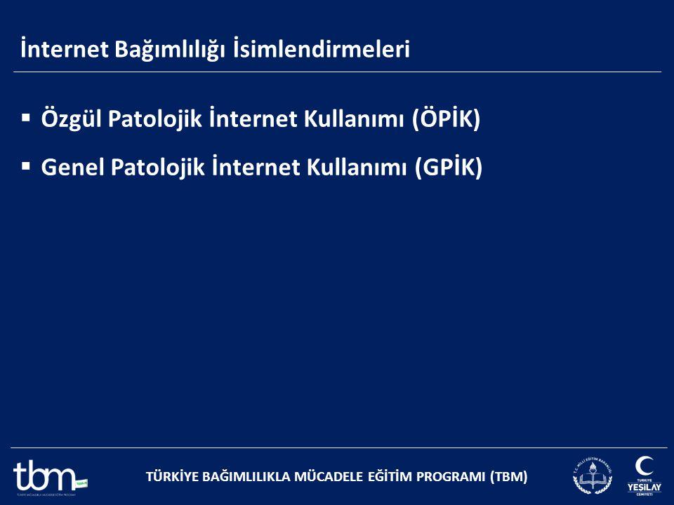 TÜRKİYE BAĞIMLILIKLA MÜCADELE EĞİTİM PROGRAMI (TBM)  Özgül Patolojik İnternet Kullanımı (ÖPİK)  Genel Patolojik İnternet Kullanımı (GPİK) İnternet B
