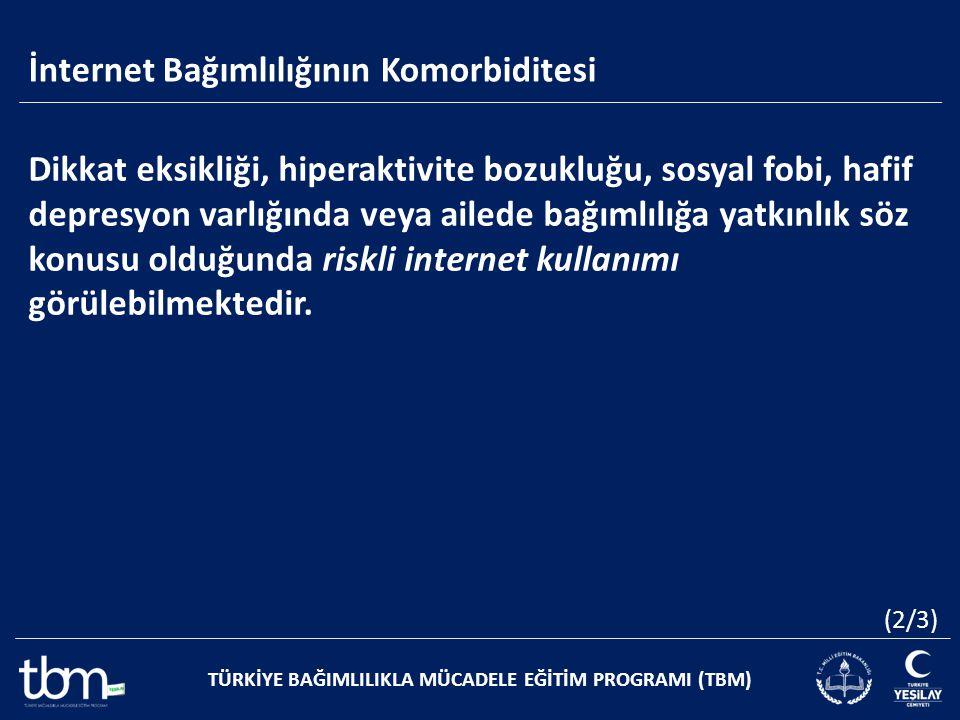 İnternet Bağımlılığının Komorbiditesi TÜRKİYE BAĞIMLILIKLA MÜCADELE EĞİTİM PROGRAMI (TBM) Dikkat eksikliği, hiperaktivite bozukluğu, sosyal fobi, hafi