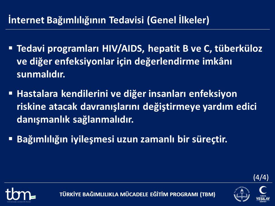 İnternet Bağımlılığının Tedavisi (Genel İlkeler) TÜRKİYE BAĞIMLILIKLA MÜCADELE EĞİTİM PROGRAMI (TBM)  Tedavi programları HIV/AIDS, hepatit B ve C, tü
